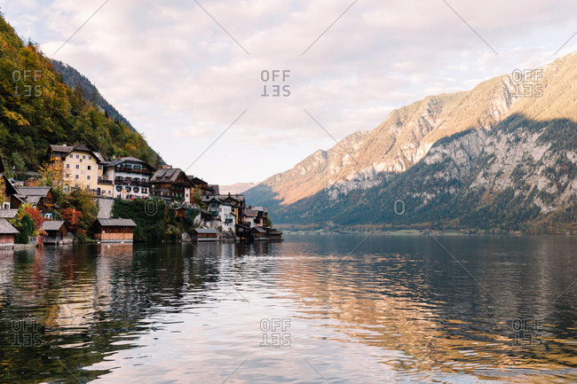 View of the Austrian town Hallstatt surrounded by lakes and mountains