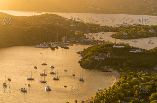 Sunset over English Harbor from Shirley Heights, Antigua, Caribbean