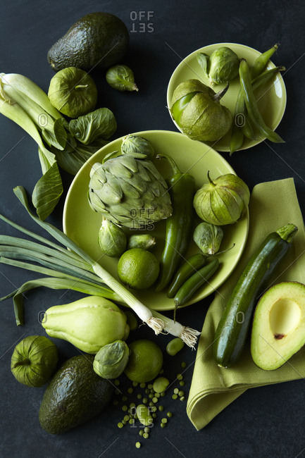 Green Vegetables on Table - Offset