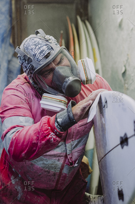 A local surf shaper from Tenerife working on a new surfboard