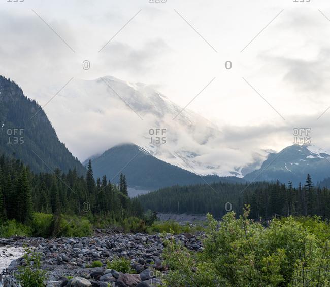 Epic cloudy Mt Rainier summer sunset