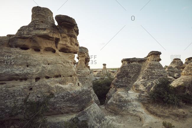 Hoodoo sandstone formations in rural Alberta