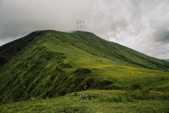 Yellow and green mountain landscape