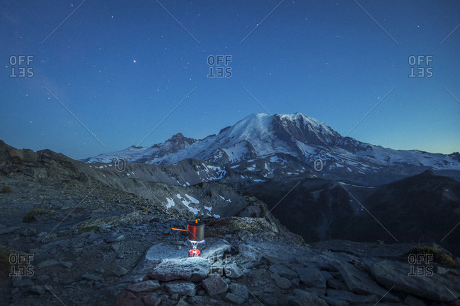 A Small Backpacking Stove is Boiling the Water in Mt. Rainier NP