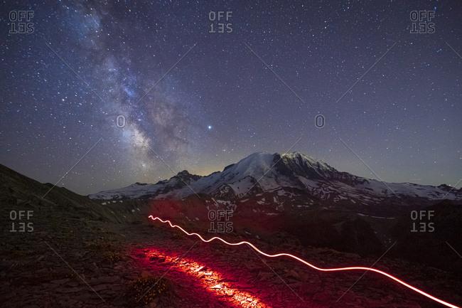 Stunning Milky Way Over Mt. Rainier and a Flashlight Track