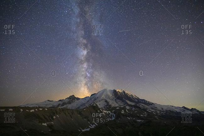 Stunning Milky Way Over Mt. Rainier in Mt. Rainier National Park