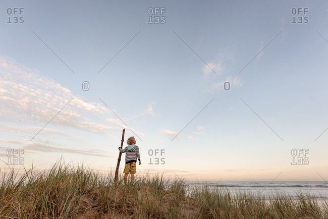 Young boy holding a stick watching the ocean