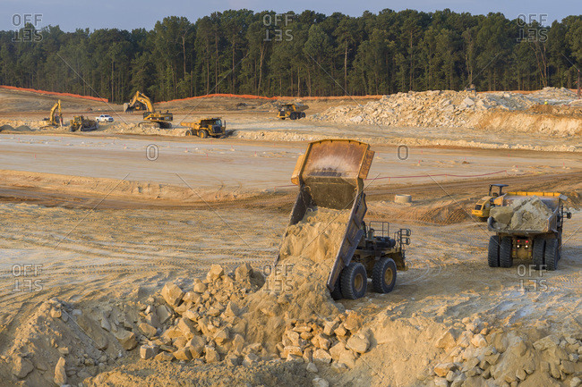 Stone Mountain, Georgia, United States - July 25, 2019: Unloading Dirt, Construction Site, Stone Mountain, Georgia