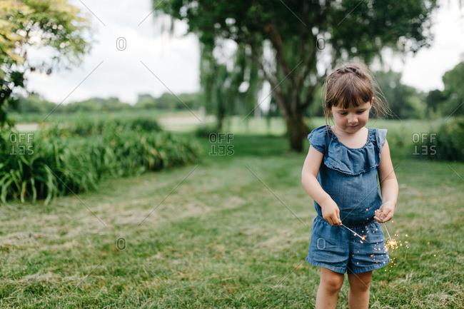 Little girl with a sparkler