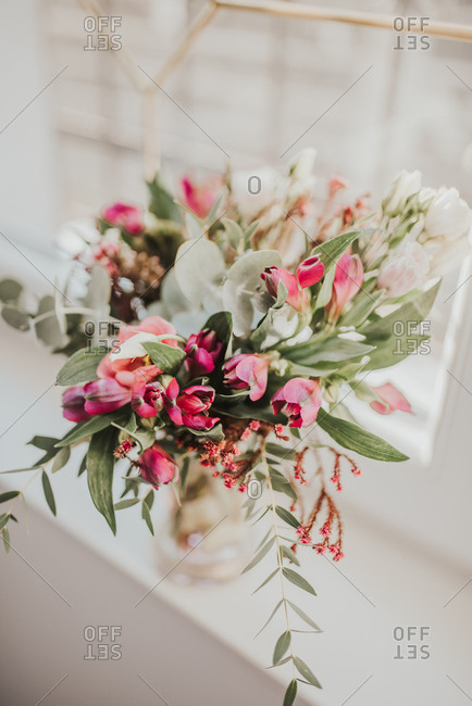 Close-up of beautiful flower bouquet in a window