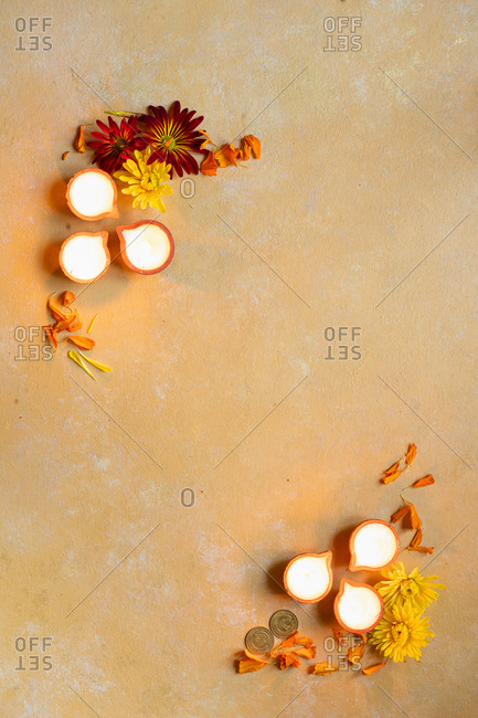 Overhead view of items arranged for Diwali, the festival of light
