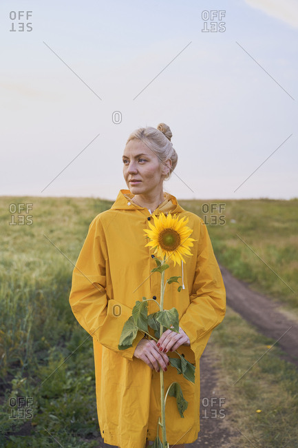 Beautiful woman traveler blogger in a yellow raincoat and yellow sunflowers on the road in a wheat field
