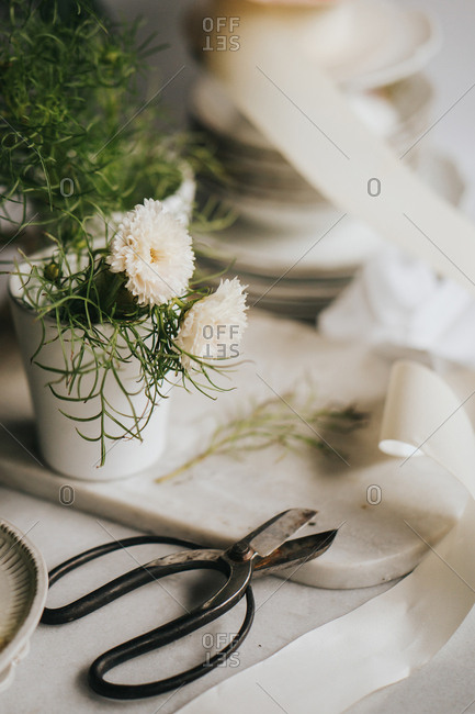 White flowers with vintage sissors  and ribbon