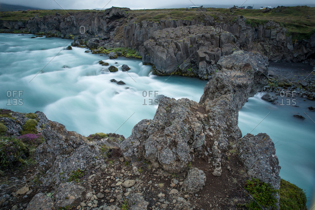 Long exposure of flowing river in Iceland