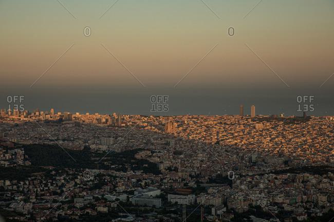 Hazy sky over city in Spain