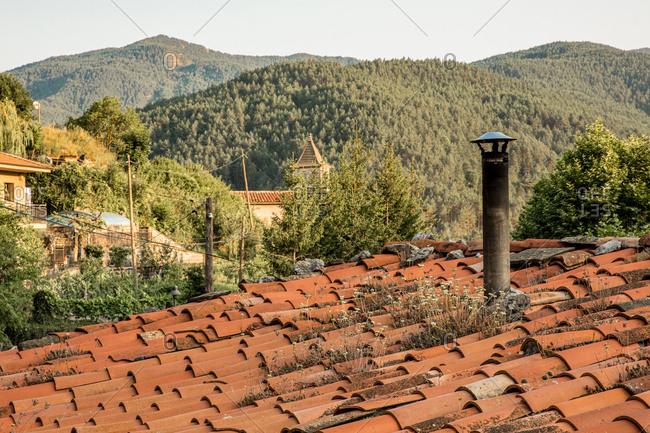 Old clay rooftop in rural Spain