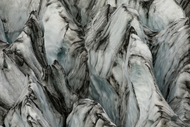 Abstract view of texture on an icy glacier in Iceland