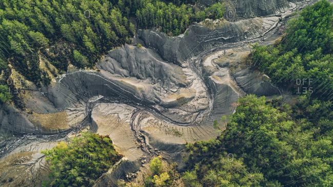 Aerial view of dry lake