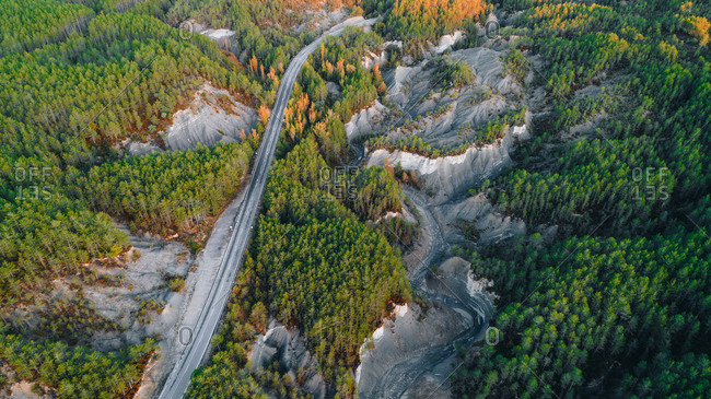 Aerial view of road beside dry lake in Monte Perdido, Spain
