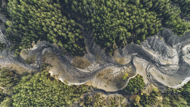 Aerial view of a dried up lake in rural Spain