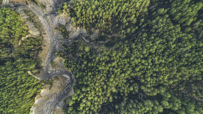 Aerial view of a dried up lake in the forest in rural Spain