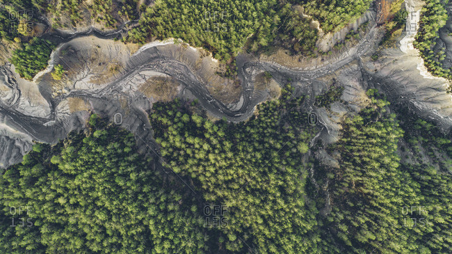 View of a dried up lake in the forest in rural Spain from above