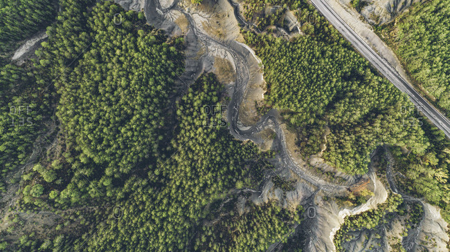 A dried up lake in the forest in rural Spain viewed from above