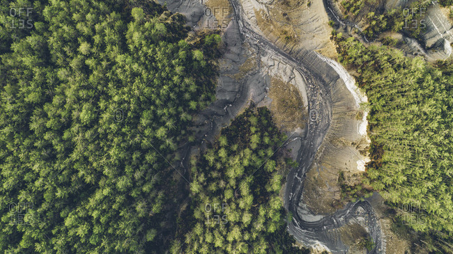 Aerial view of a dry lake surrounded by green trees in Monte Perdido, Spain