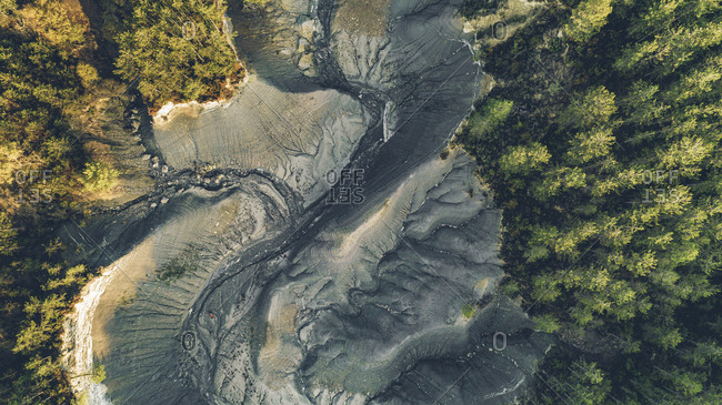 Aerial view of a dry lake in the woods in Monte Perdido, Spain