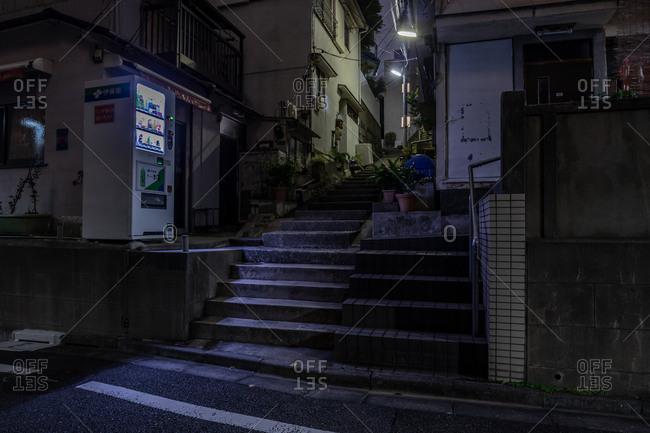 Tokyo, Japan - October 24, 2019: Concrete steps in downtown Tokyo