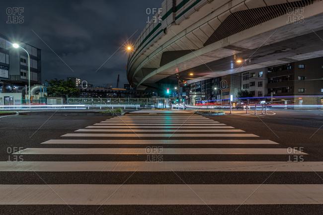 Tokyo, Japan - October 27, 2019: Nighttime long exposure street scene