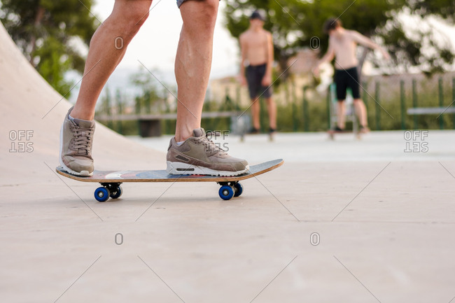 Close view of a skate on skating court