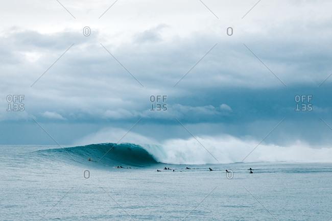 Heavy wave breaking before the storm in Mentawai Islands