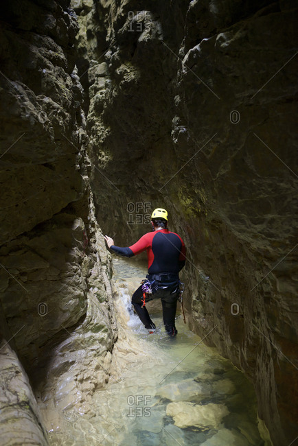 Canyoning Gloces Canyon in Pyrenees.