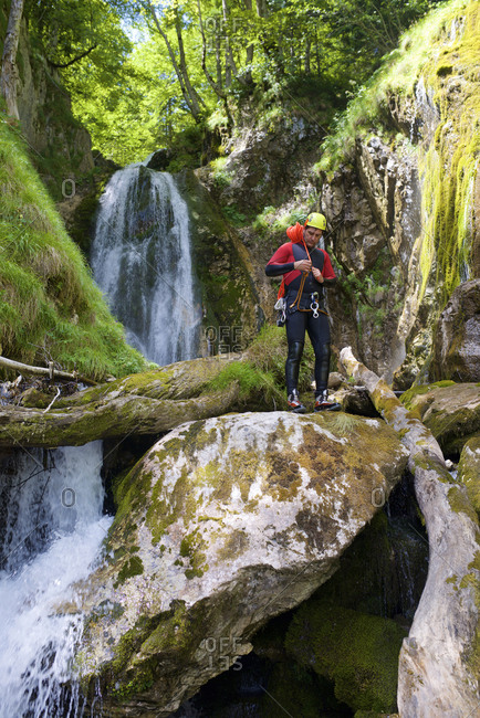 Canyoneering Sharrumbant de Anaye Canyon in Lescun Valley, Pyrenees.