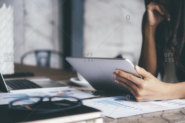 Businessman analyze investment marketing data.
