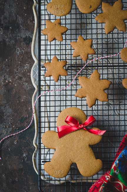Overhead view of baked gingerbread cookies on a cooling tray