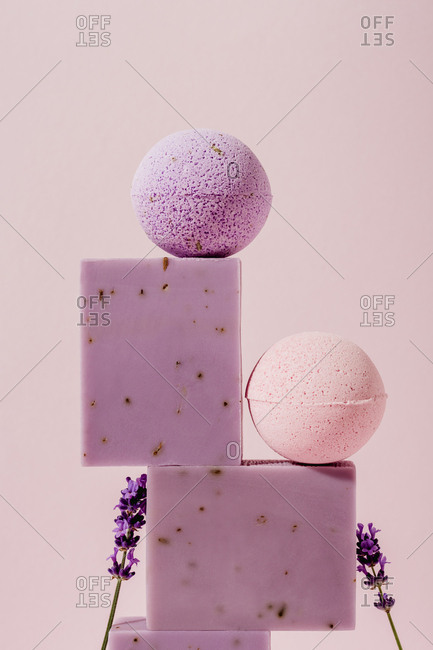 Close up of lavender soaps and bath bombs