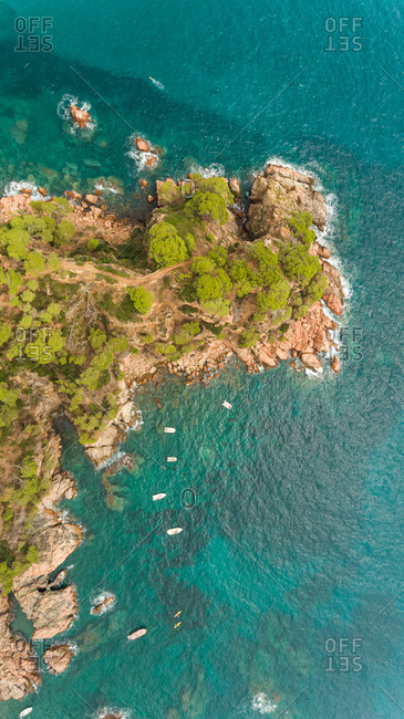 Aerial view of Cabo Roig rocky shore at Calella de Palafrugell, Spain