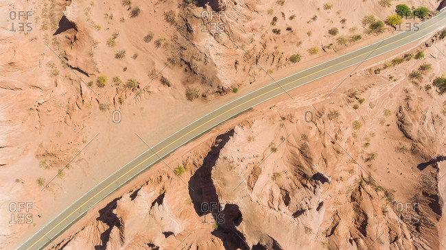 Aerial view of road crossing near Las Ventanas, touristic attraction, Argentina