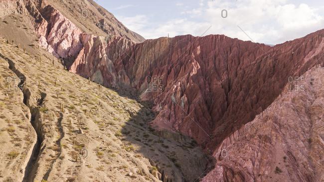 Aerial view of Cerro Los Colorados, touristic attraction, Argentina.