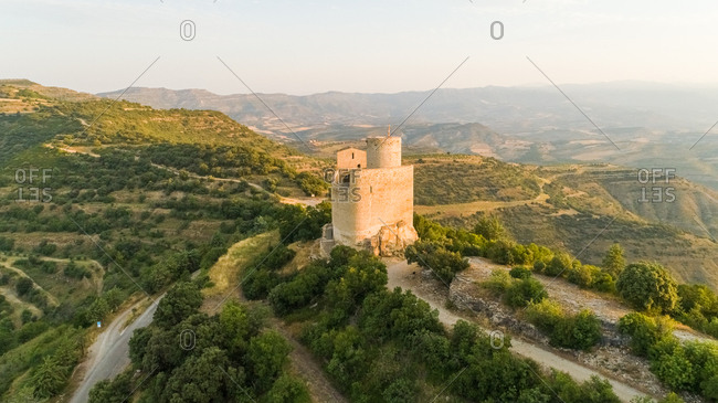 Aerial view of Castell de Mur touristic attraction during the sunset, Spain.