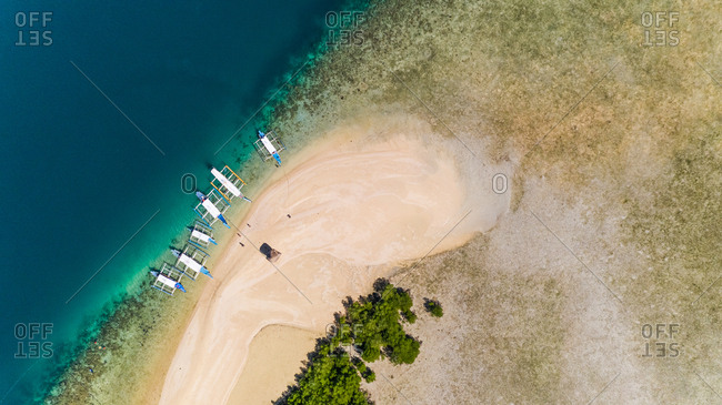 Aerial view of traditional boat at Starfish island beach, Philippines.