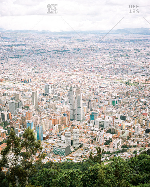 Bogota, Colombia - November 2, 2019: View of city from Monserrate hill