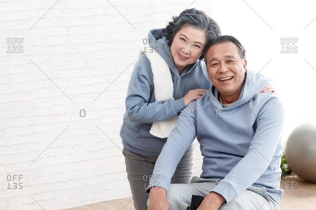Elderly couple fitness movement