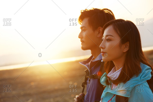 Young couples backpacking trip