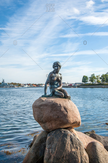 September 22, 2015 -  Copenhagen, Denmark: Danish mermaid city sculpture