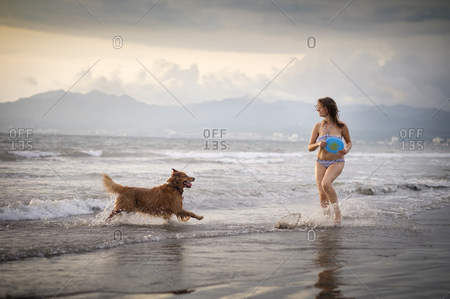 Mexico- Nayarit- Young woman in bikini playing frisbee with her Golden Retriever dog at the beach