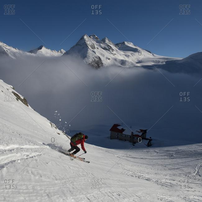 Italy- Adamello- Rifugio Mandrone- Cima Presanella- skier