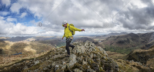England- Cumbria- Lake District- Langdale- Harrison Stickle- climber